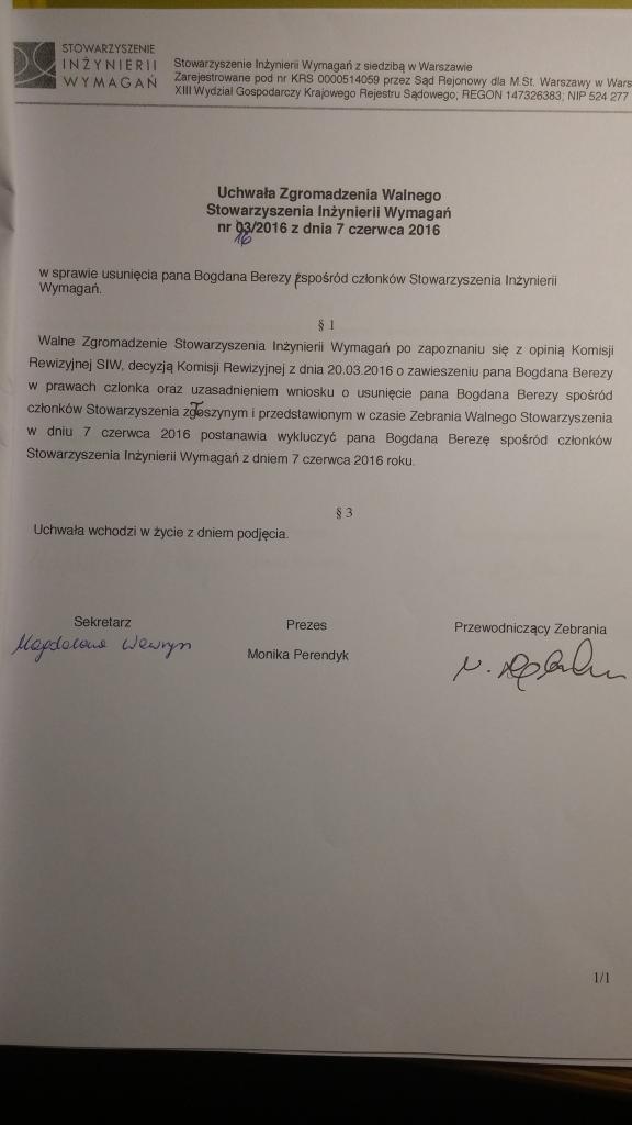 usunięcie Pana Bogdana Berezy