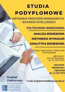 Studia podyplomowe: Inżynieria procesów biznesowych – Business Intelligence